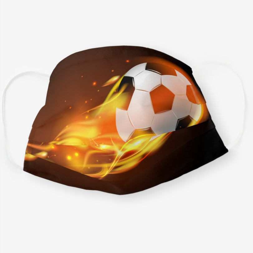 Soccer on Fire Polyester Face Guard - SHIPS FAST!