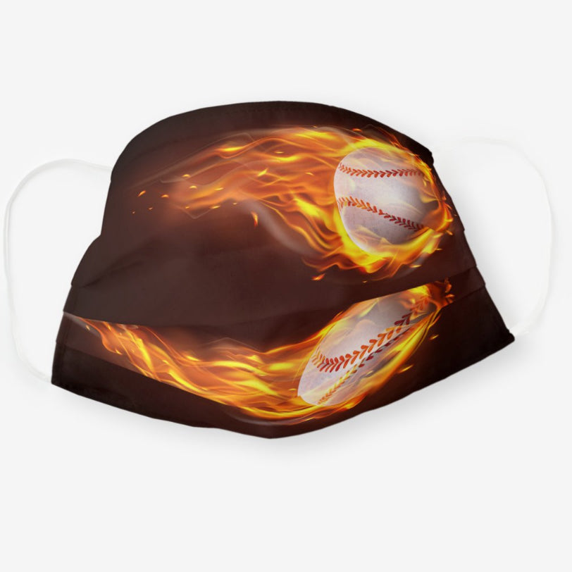 Baseball on Fire Polyester Face Guard - SHIPS FAST!
