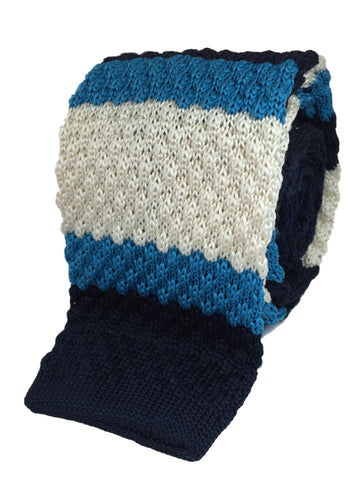 Ivory with Cyan and Navy Stacked Knit