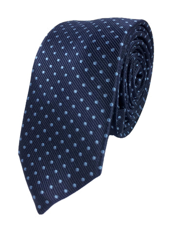 Navy with blue polka dots