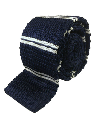 Navy with Double White Stripe Knit