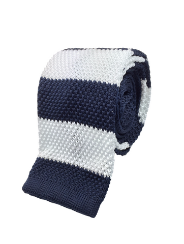 Navy and White Stacked Knit