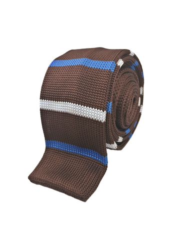 Brown with Blue and White Stripe