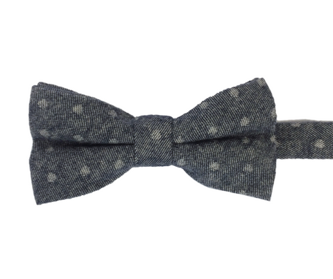 Black Faded Polka Dot  Linen Bowtie