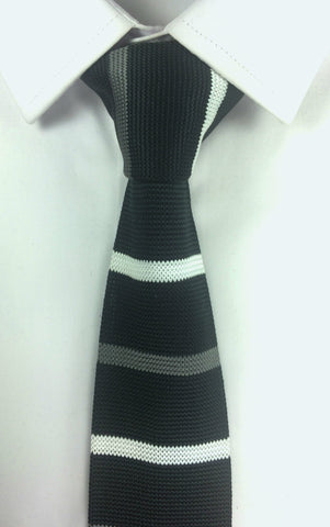Black with Grey and White Stripe Knit
