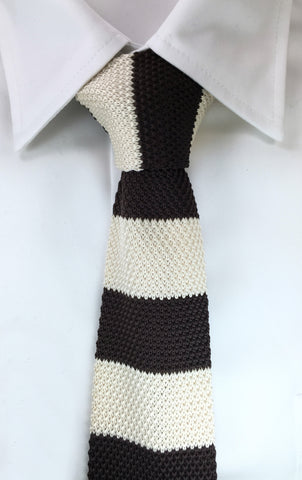 Brown and Ivory Stacked Knit