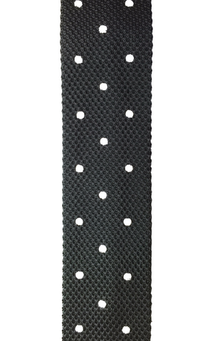 Black Knit with White Polka Dots