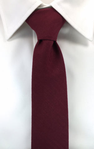 Beaver Fur Burgundy Red Skinnytie