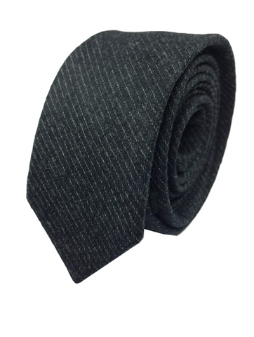 Black Wool with Thread Stripes
