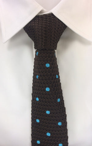 Cyan Polka Dot Brown Knitted Tie