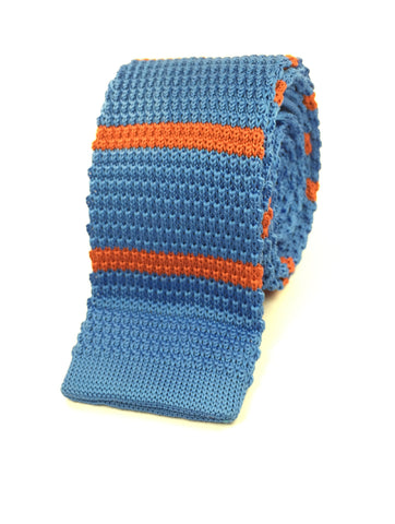 Cyan with Tangerine Stripe Knit