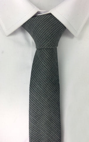 Charcoal Wool with White Soft Stripes