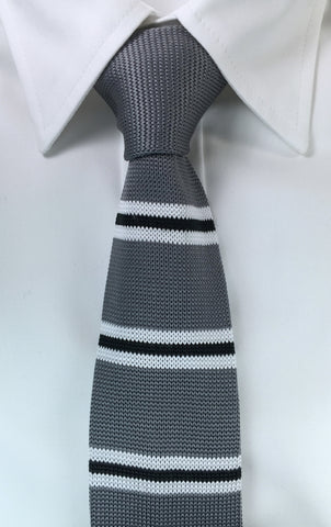 Grey with Black and White Bar Stripe (Soft Knit)