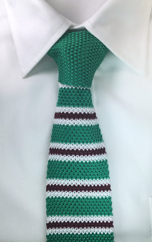 Green with Maroon and White Bar Stripe