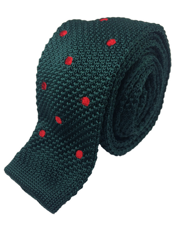 Green with Red Polka Dots Knit