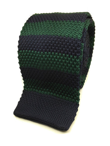 Green and Navy Tech Stripe Knit