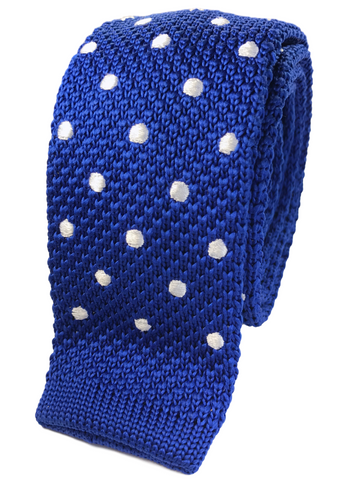 Blue Knit with White Polka Dots