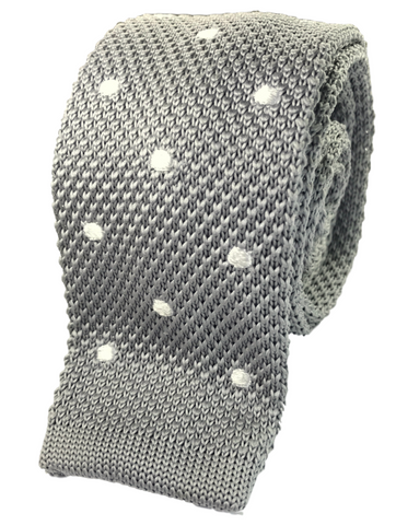 Grey Knit with White Polka Dots