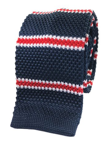 Navy with Red Bar Stripe Knit