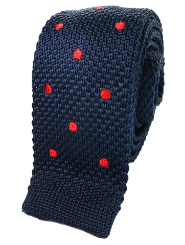 Navy Knit with Red Polka Dots