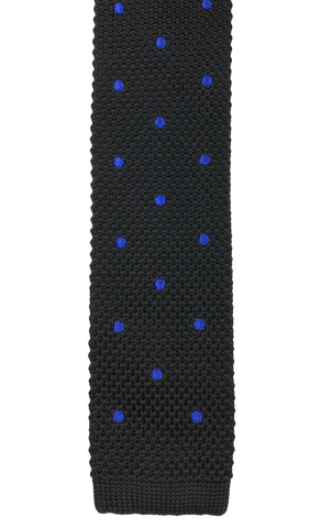 Black Knit with Blue Polka Dots