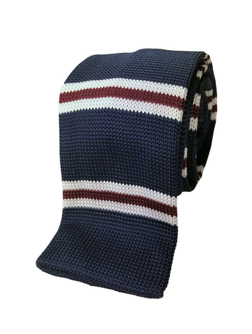 Navy with Crimson and White Bar Stripe Soft Knit