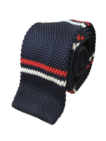 Navy with Red and White Ad Stripe Knit