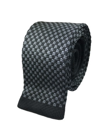 Checkered Black and Tungsten Knit