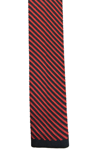 Red and Black Diagonal Stripe Knit
