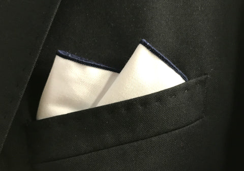 Navy Border Pocket Square