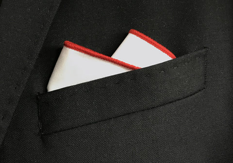 Red Border Pocket Square