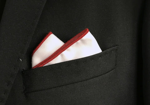 Maroon Border Pocket Square