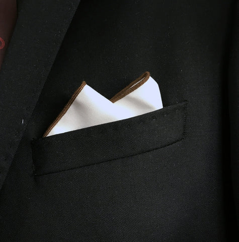 Dark Brown Border Pocket Square