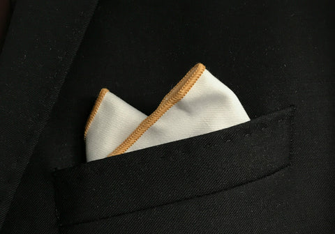 Tan Border Pocket Square
