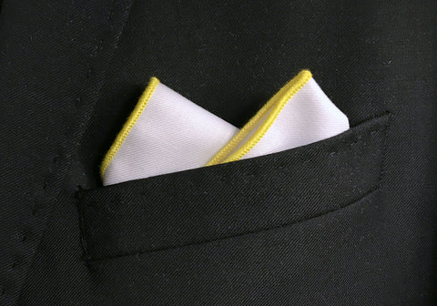 Yellow Border Pocket Square