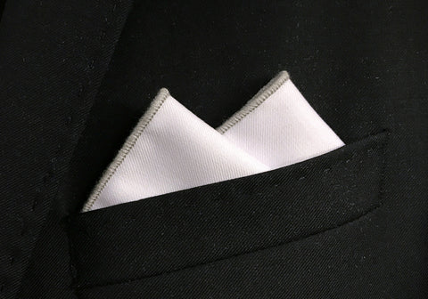 Grey Border Pocket Square
