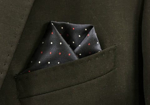 Navy with Red-White Pindot Pocket Square