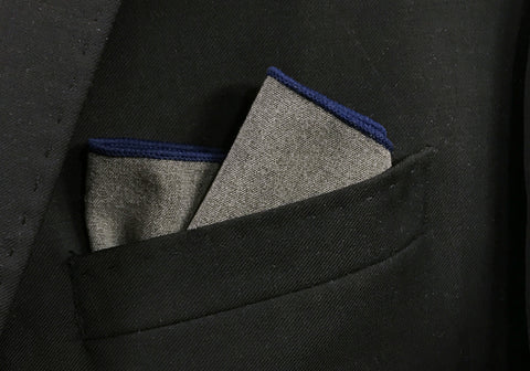 Grey Wool with Blue Border pocket square