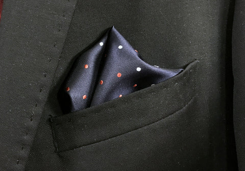 Blue Floral and Polka Pocket Square