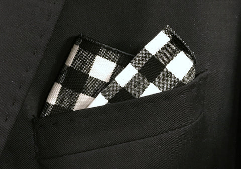 Black Checkered Pocket Square