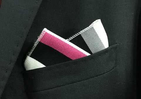Achromatic Fuchsia Pocket Square