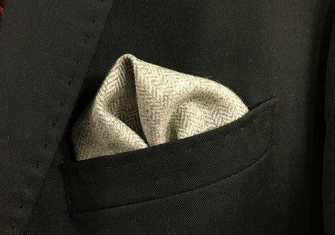 Light Grey Herringbone with Grey Border pocket square