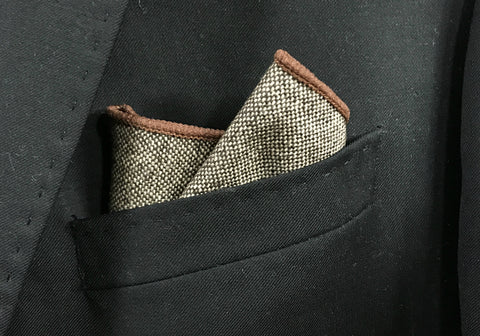 Grey Tweed with Brown Border Pocket Square