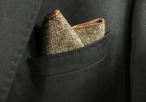 Brown Tweed with Brown Border Pocket Square