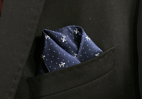 Fleur de Lis and Pin Dot Pocket Square