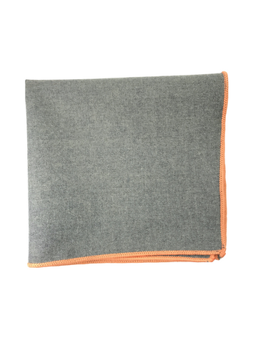 Grey Wool with Orange Border pocket square