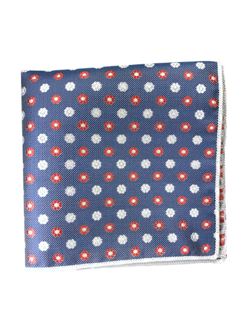 Blue and Red Floral Print Pocket Square