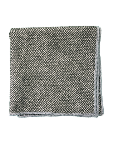 Grey Herringbone with Grey Border pocket square