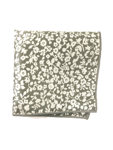 Black and White Floral Print Jacquard Pocket Square
