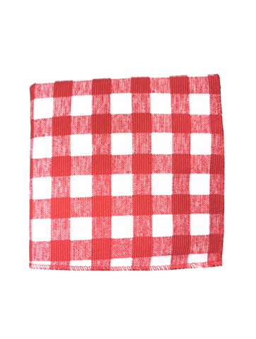 Red Checkered Pocket Square
